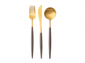 Serenity silver and matt brown cutlery