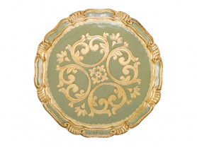 Green and gold baroque presentation plate